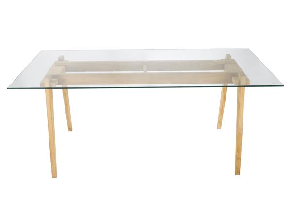 Table tableau verre pieds bois