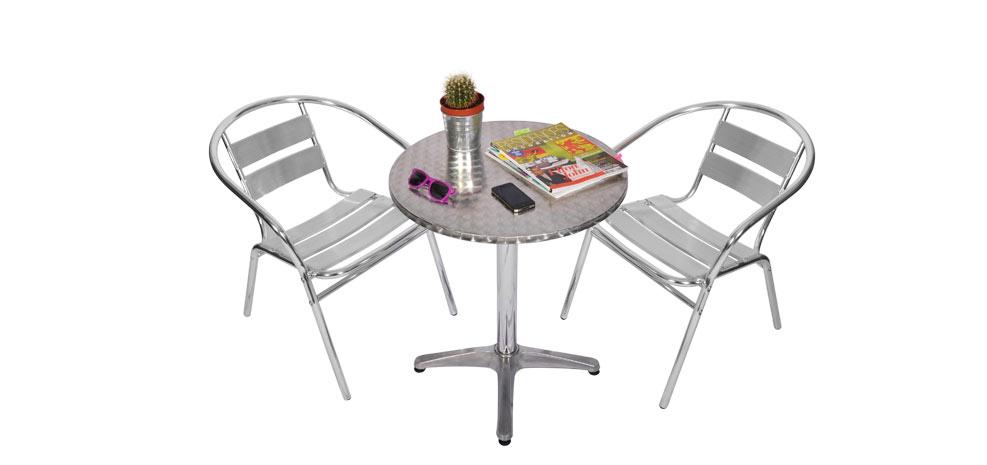 table et chaises de jardin en aluminium