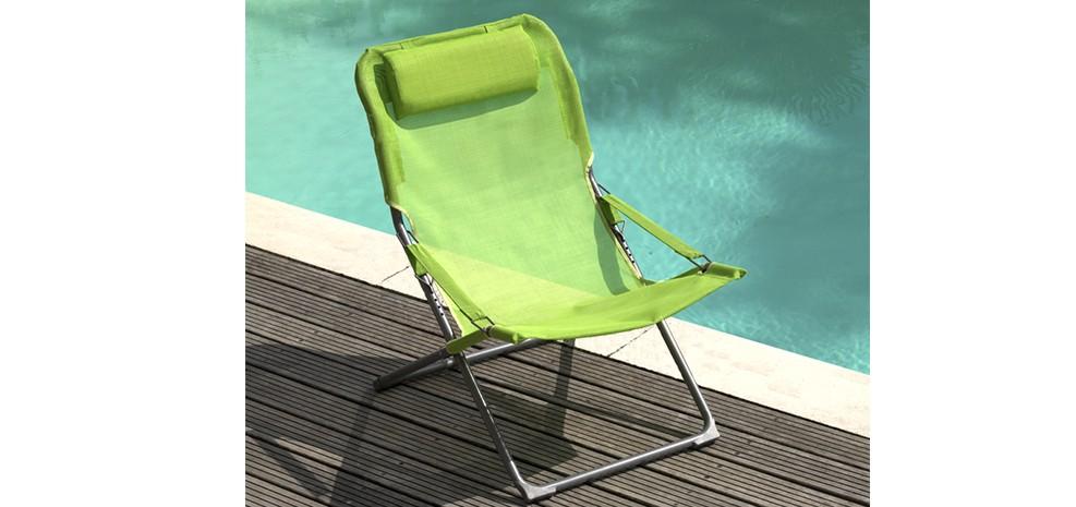 chaise longue design verte