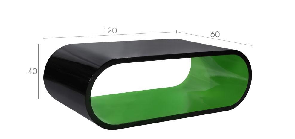 achat table basse arrondie bicolore