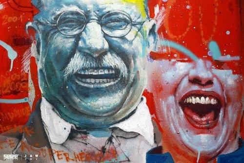 peinture street art par jaw
