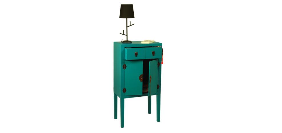 meuble de rangement asiatique bleu