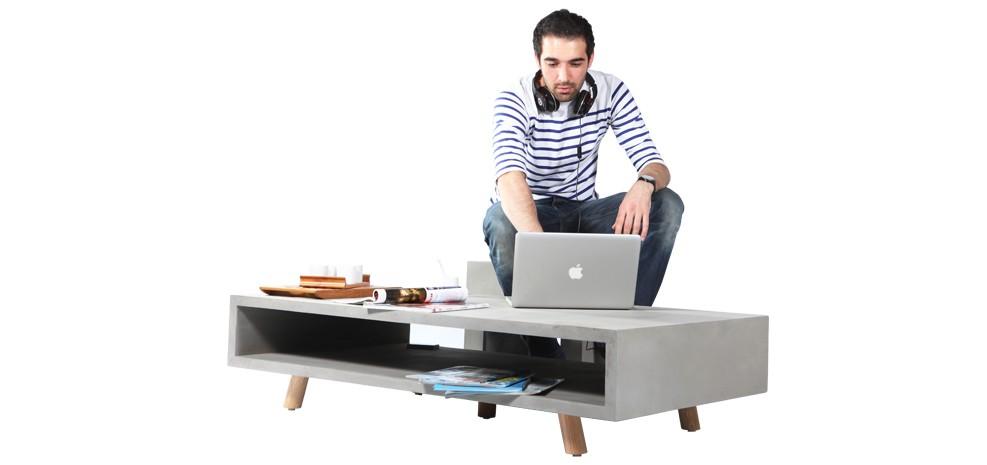 table basse en béton et en bois