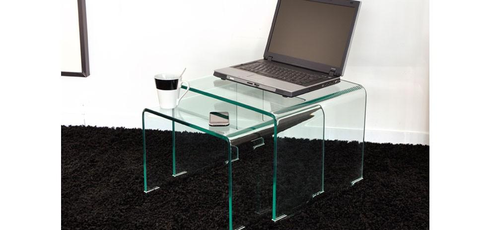 tables basses gigognes en verre design pas chères