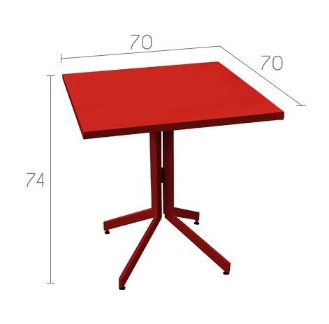 table de jardin métal rouge design