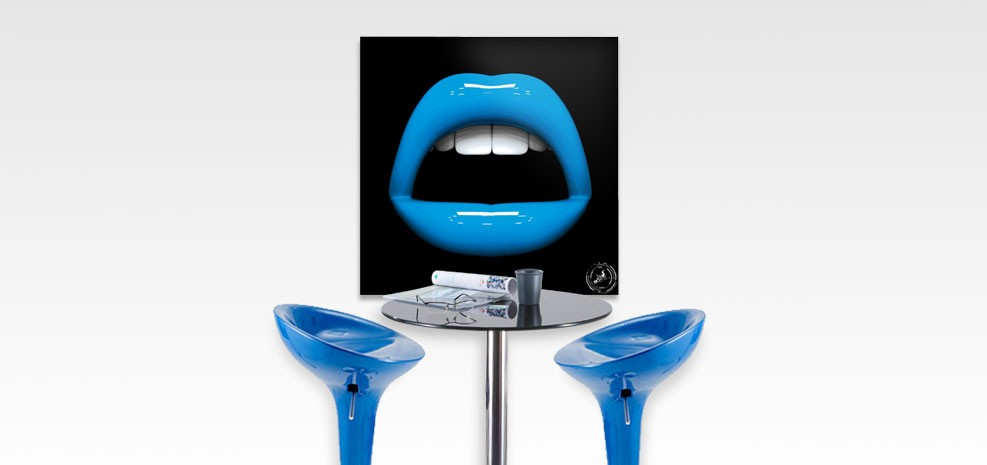 tableau bouche pop bleu