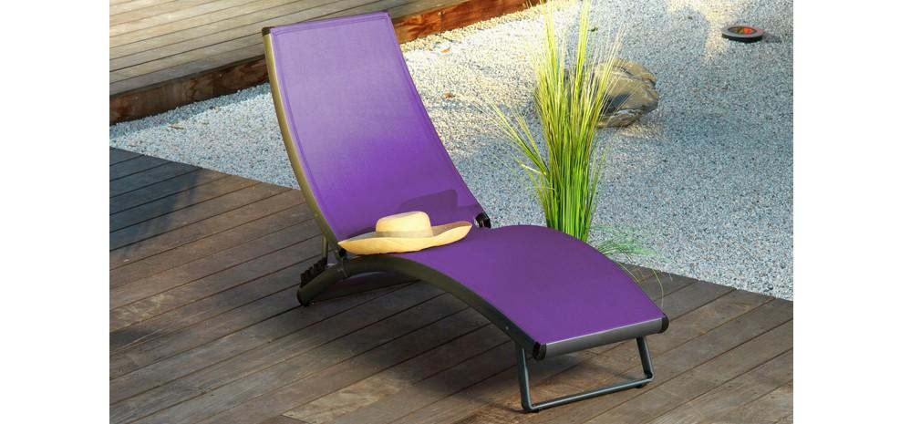chaise longue en toile violette pas chère