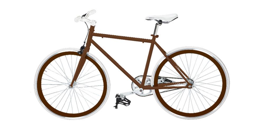 vélo fixie marron design pas cher